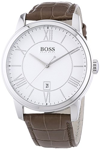 Hugo Boss White Dial Stainless Steel Brown Leather Quartz Men's Watch 1512973