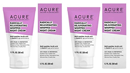 Acure Organics Radically Rejuvenating Whipped Night Cream With Marula Seed, Peptide Blend, Vitamin C, Coconut and Glacial Glycoproteins, 1.7 fl. oz. each Pack of 2