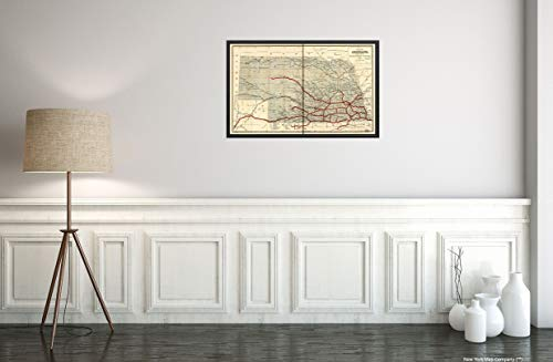 1886 map of Nebraska published by The Burlington Route 1886, compiled from The Official Records of The Government and Rail Road Offices|Size 14x24 - Ready to Frame| Nebraska| (Government Records)
