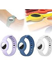 Voor Apple Airtag siliconen band armband beschermhoes, super lichte zachte huidvriendelijke tracker horlogeband, verstelbare GPS tracking locator anti-verloren polsband (H)