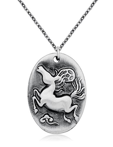 - CHUANGYUN Cute Cartoon Chinese 12 Zodiac Classic Personalized Antique Silver Necklace, Horoscope Animal / Sign Amulet (Horse)