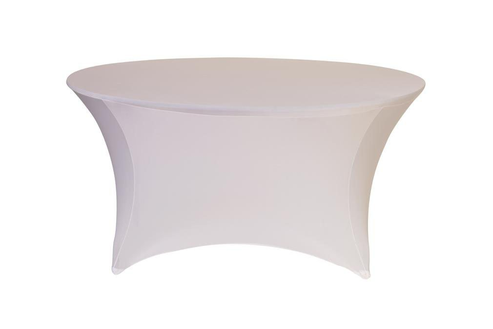 Your Chair Covers - Round Fitted Stretch Spandex Table Cover, White, 6' L