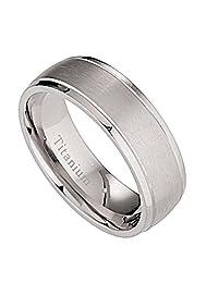 7mm Brushed Polished Grooved edges Titanium Wedding Ring Comfort Fit Band