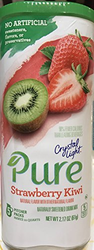 Crystal Light Pure Strawberry Kiwi Drink Mix, 5 Pitcher Packs (Pack of 4)