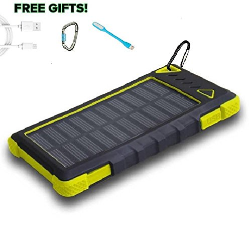Solar Powered Charger, PowerLocus 12000mAh Solar Phone Charger Dual USB Port Waterproof Portable External Battery Pack Solar Power Bank for iPhone X 8/8s 7 7 Plus Samsung Galaxy S8 and more (Yellow)