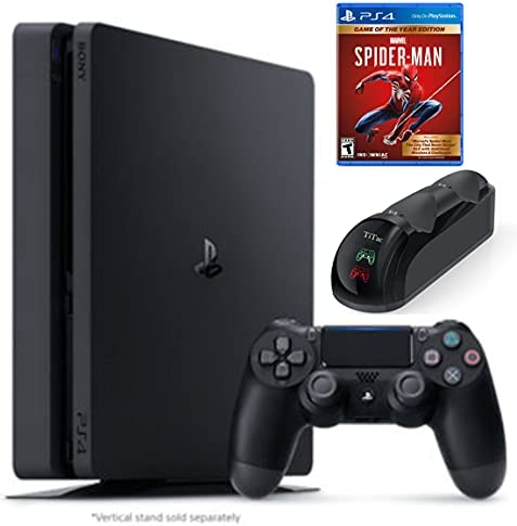 2021 Sony Playstation 4 1TB Slim Edition Console Holiday Bundle - PS4 Console + 1 DualShock Wireless Controller + Marvel's Spider-Man: Game of The Year + TiTac PS4 Controller Fast Charging Dock