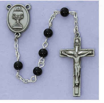 - 5mm Black Glass Communion Rosary Black Leather Box Pewter Crucifix and Chalice Center Gift Box Included