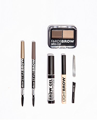 Eyebrow Makeup Kit - 7 pcs Brow Shaping Set - Includes Stencils, Powders, Gel, Pencils, Highlighter Stick, Tweezers, Brush