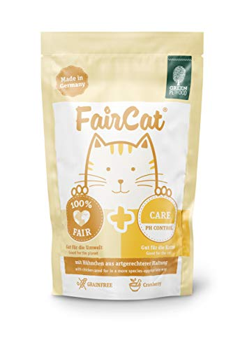 Green Petfood FairCat Care – Getreidefrei/reduziert das Risiko von Harnsteinbildung – Katzenfutter Nass 16x85g