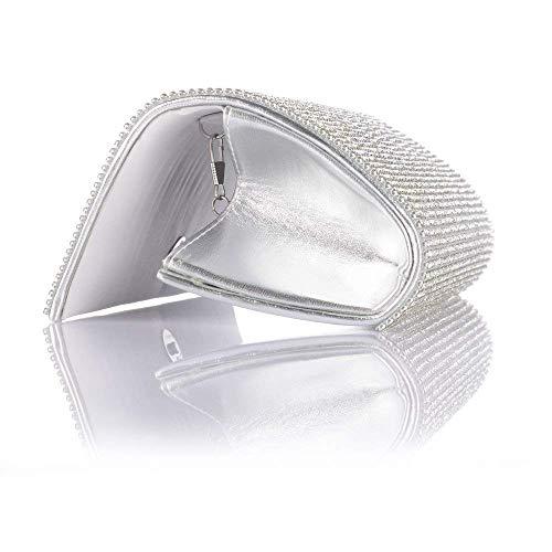 Middle Studded Handbag Silver Gold Long Purse Bag Wedding Glitter Luxury Evening Wallets Clutch Party Purse Evening Women Bag Banquet TOPCHANCES Bag Shoulder Diamond qCaaXg