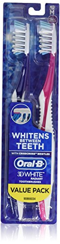 Oral-B 3D White Radiant Whitening Toothbrush 40 Medium 2 Count