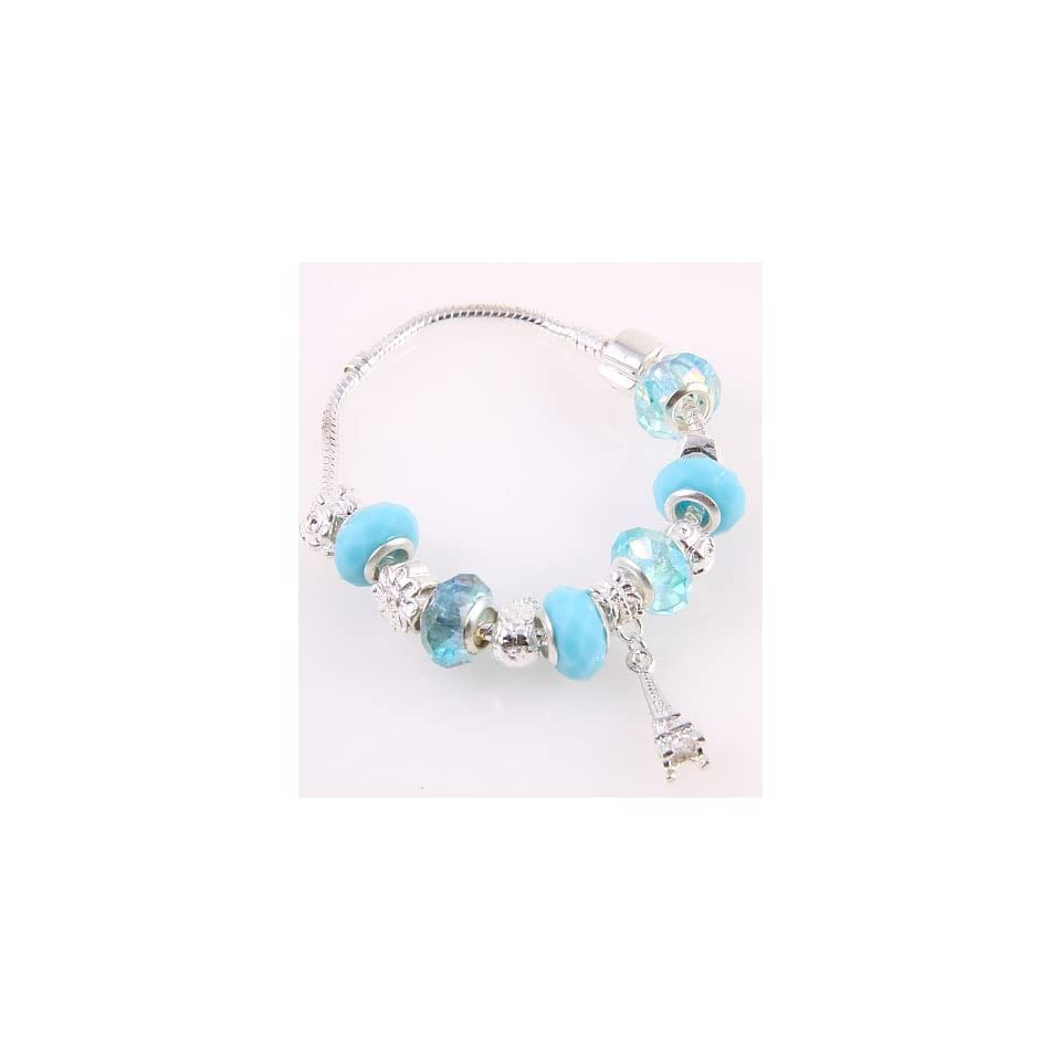 Fashion Jewelry Desinger Murano Glass Bead Bracelet with Pattern Blue