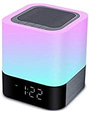 YSD Night Light,Touch Sensor Bedside Lamp with Bluetooth Speaker, Warm Light and Color Changing Table Lamp, 4000mAh Battery & 12/24H Digital Calendar Alarm Clock, Gift for Kids Friends Party