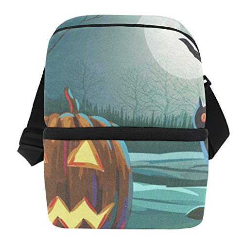 (Lunch Bag Spooky Halloween With Pumpkin And Owl Insulated Cooler Bag Mens Leakproof Lunch Storage Zipper Tote Bags for)