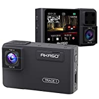 AKASO Dual Dash Cam 1080P60 FHD, Uber Front & Rear Dash Camera, Dual Sony Starvis, 340° Wide Angle, Dual Record 1080P, Infrared Night Vision, Parking Mode, G-Sensor, Support 128GB max. (Trace 1)
