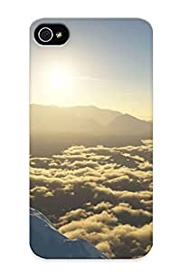 Downturnvver Iphone 4/4s Hybrid Tpu Case Cover Silicon Bumper Mountain Peak Above The Clouds