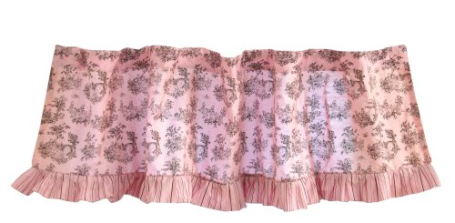 Toile Brown Valance - Tadpoles Toile Rod Pocket Window Valance in Pink and Brown