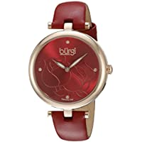 Burgi Women's BUR151RD Rose Gold Quartz Watch With Red Diamond Dial And Red Leather Strap