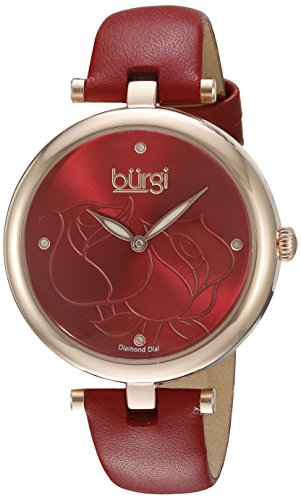 Automatic Chronograph Rose - Burgi Women's BUR151RD Rose Gold Quartz Watch With Red Diamond Dial And Red Leather Strap