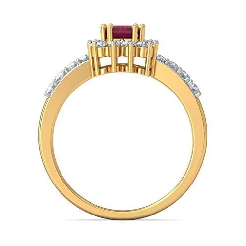14K Or jaune, 0.41carat Diamant Blanc (IJ | SI) Rubis et diamant Bague
