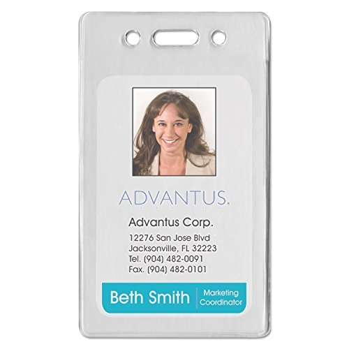 - Advantus 75451 Proximity ID Badge Holder, Vertical, 2 3/8w x 3 3/8h, Clear, 50/Pack