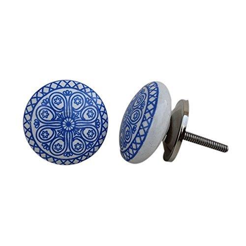 Set of 12 Ceramic Blue Wheel Flat Drawer Pulls and Knobs Handmade Designer Silver Finish