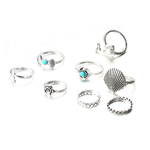 xingqiong Bohemian Vintage Dolphin Mermaid Tail Rings Scallop Shell Faux Turquoise Bow Candy Flower Hollow Love Heart Ring for Bridal Women Jewelry 8 Pcs Set (Scallop Shell Ring)