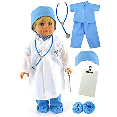 American Fashion World Blue 7 Piece Outfit for 18 inch Dolls: Toys & Games