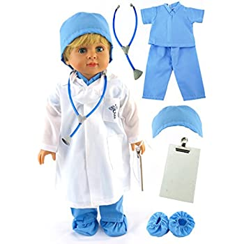 World For Fits American Doctor More Made Medical Fashion Scrubs Doll Blue Dolls 18-inch And