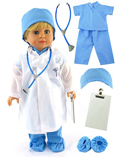 "Blue Doctor Doll Medical Scrubs with Accessories | Fits 18"" American Girl Dolls, Madame Alexander, Our Generation, etc. 