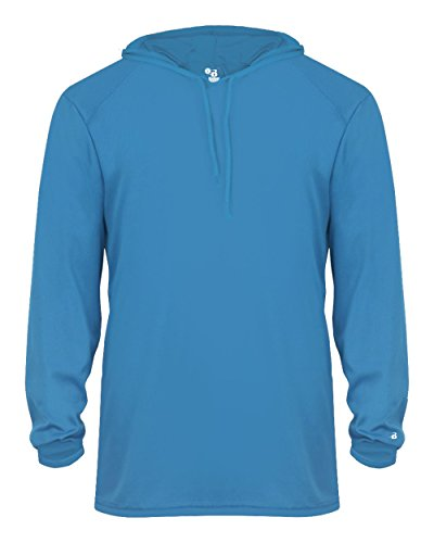 Youth Electric Blue Long Sleeve B-Core Large Performance Sports Hoodie Wicking T-Shirt