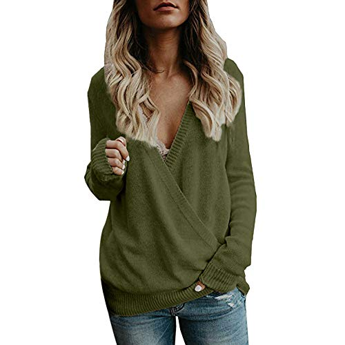 - vermers Women Sweater Women's Knitted Deep V-Neck Long Sleeve Tops Casual Wrap Front Loose Pullover Jumper(L, y-Green)