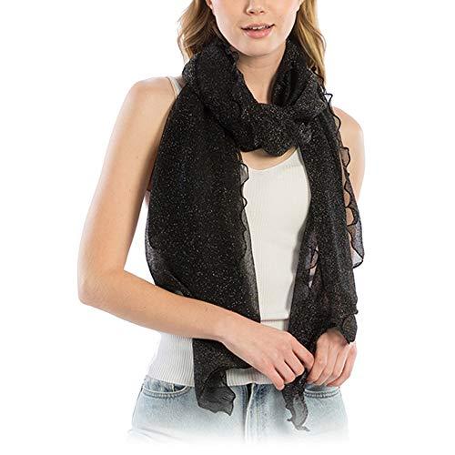 Ruffled Scarf - Me Plus Women Fashion Lightweight Soft Spring Summer Long Scarf Shawl Wraps (Shimmery Ruffled - Black)