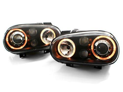 99-05 VW MK4 Golf/GTI E-Code Angel Eye Projector Headlights - Black (1999 2000 2001 2002 2003 2004 2005)
