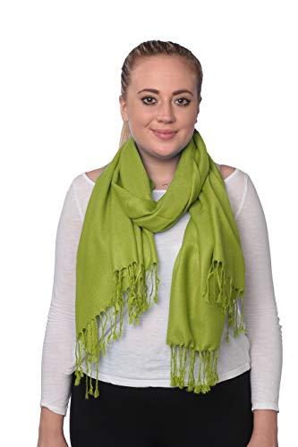 (Women's Classic Elegant Bright Solid Colors Pashmina Silk Shawl Blend Soft Wrap Scarf (Apple Green))