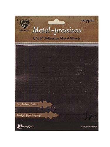 Ranger Vintaj Metal-pressions Metal Sheets 6 in. x 6 in. copper pack of 3 [PACK OF 3 ] by Ranger