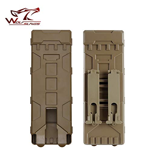 wolfslaves Tactical MOLLE Ammo Bag 10 Rounds 12GA 12 Gauge Ammo Shells Shotgun Reload Magazine Pouches Molle Box Carrier Holder (Tan)