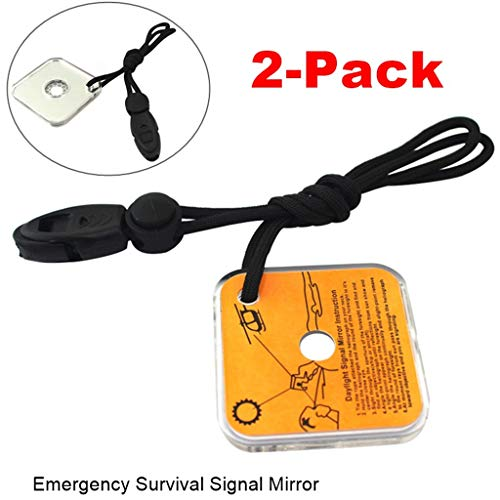 Meetcute Emergency Survival Signal Mirror, Long Distance Communication Reflective Signal Mirror Emergency Flash Mirror with Whistle,Fit For Adventure, Travel, Floating, Emergency, Outdoor -【2-Pack】 ()