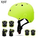 XJD Kids Helmet 3-8 Years Toddler Helmet Sports Protective Gear Set Knee Elbow Wrist Pads Roller Bicycle BMX Bike Skateboard Adjustable Helmets for Kids (Yellow)