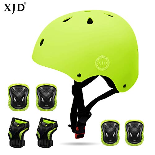 (XJD Kids Helmet 3-8 Years Toddler Helmet Sports Protective Gear Set Knee Elbow Wrist Pads Roller Bicycle BMX Bike Skateboard Adjustable Helmets for Kids (Yellow))