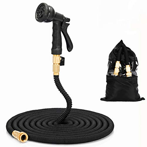 (Sol brothers Lightweight Garden Hose, 50 ft Flexible Expanding High Pressure Yard Water Hose with 8 Pattern Spray, Strength Fabric - Black)