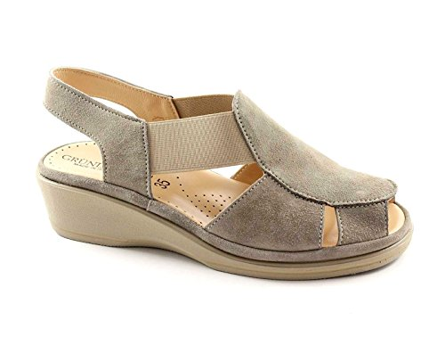 Grunland ELOI SA0888 Taupe Suede Wedge Sandals Woman Elastic Comfort Grigio 0lvHFLL6