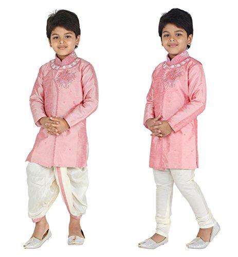 Ahhaaaa Kids Ethnic Indo Western Kurta Pyjamas Dhoti Pant Set for Boys (3-4 Years, Pink) by ahhaaaa