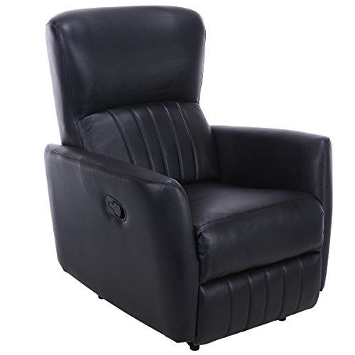 Giantex Recliner Chair PU Leather Lounger Club Manual Home Theater Seating Ergonomic Reclining Sofa Chair Black