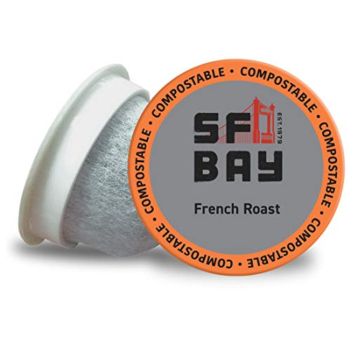 SF Bay Coffee French Roast 100 Ct Dark Roast Compostable Coffee Pods, K Cup Compatible including Keurig 2.0