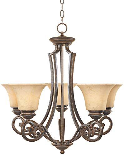 Designers Fountain 81885-FSN Mendocino 5 Light Chandelier, 25.25 x 24.75 x 24.75