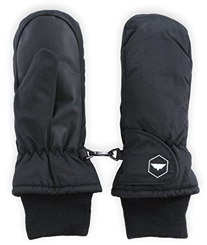 Tough Outdoors Kids Winter Snow & Ski Mittens - Youth Mitts Gloves Designed for Skiing & Snowboarding - Waterproof, Thermal Nylon Shell & Synthetic Leather Palm - Fits Toddlers, Junior Boys and Girls
