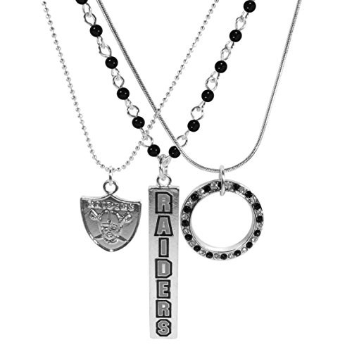 Siskiyou NFL Oakland Raiders Silver Plated Trio Necklace Set, -
