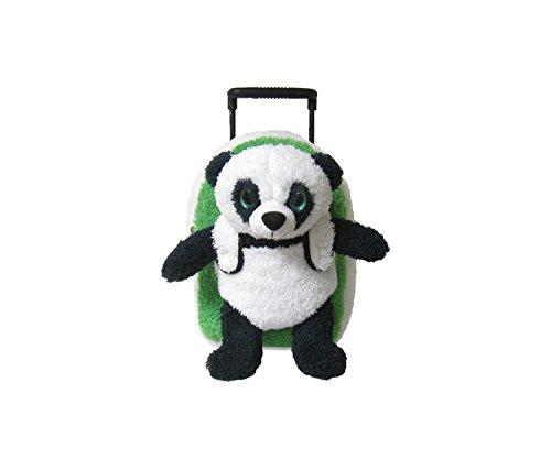 Mozlly Black & White Panda Plush Green Rolling Backpack, 14 Inch Super Soft & Cute Stuffed Animal Trolley Bag Interactive Toy Luggage Bags Wildlife Themed Kids Children Boys Girls School Supply