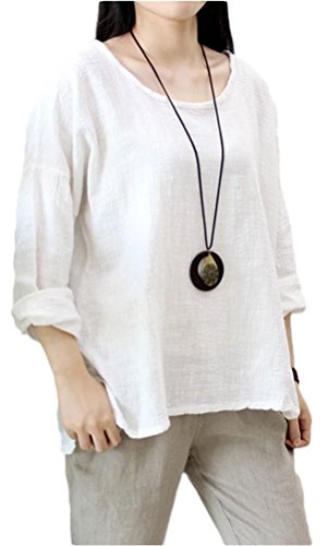 (Soojun Women's Casual Loose Long Sleeve Round Collar Cotton Linen Shirt Blouse Tops, Color White, X-Large)